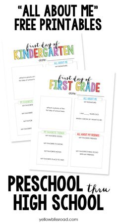 All About Me Free Printables