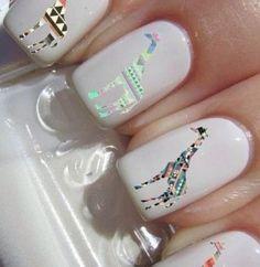 GIRAFFE NAILS nailart, decals, beauti, nail design, nails, hair, nail art, nail decal, giraffes