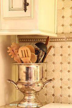 kitchens, back splashes, kitchen utensils, southern style, buckets, kitchen corner, cooking utensils, vintage silver, champagn bucket
