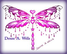 """""""Charm Dragon"""" Colorful Dragonfly Tattoo Design by Denise A. Wells. Dragonfly Tattoo with hanging hearts and star charms and hanging chains. Ornate Dragonfly Tattoo Design. ***Message me on Facebook to get a Price Quote."""