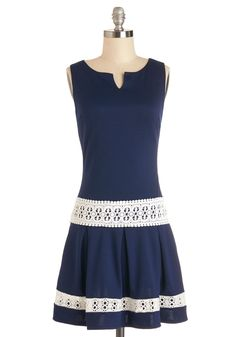 Life of the Dinner Party Dress. Whats a soiree without your witty anecdotes and your fab sense of style, which is marked by this sleek navy dress? #blue #modcloth