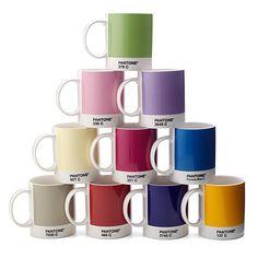 Pantone Mugs primary colors, modern art, coffee break, color combos, color blue, coffee cups, design, pantone, mugs