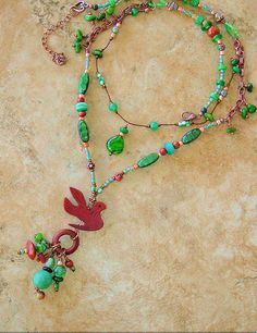 Boho Necklace Folk Art Necklace Long Beaded by BohoStyleMe on Etsy