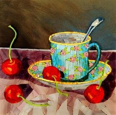 Cup and Cherries Still Life