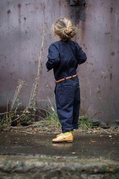 Denim jumpsuit with skinny leather belt, perfection.  #estella #kids #designer #fashion