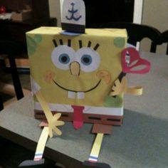 spongebob valentine box.  D would love it but I'm not very creative! valentine box, valentin box, spongebob valentin, spong bob