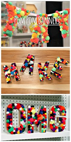 HGTV Crafternoon: Easy Pom-Pom Banner and Decorative Letters (http://blog.hgtv.com/design/2014/03/11/easy-pom-pom-banner-and-decorative-letters/?soc=pinterest)