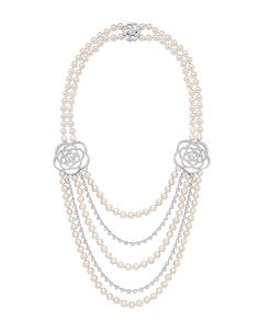 Chanel Joaillerie Camélia sautoir necklace in 18k white gold, cultured pearls and diamonds. Available at the Chanel Fine Jewelry Boutique at London Jewelers, Americana Manhasset. For more information, please call (516) 918-2700 to speak to a Chanel Fine Jewelry representative.