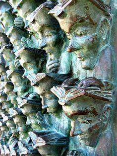sculptures, books, book sculpture, the reader, larochell, france, the artist, la rochelle, bronze sculpture