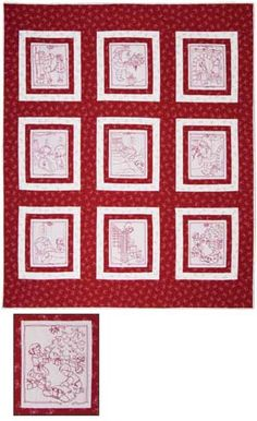 quilt appliqueembroid, christma morn, christmas morning, quilt kits, redwork