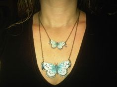Moth Necklace Large Butterfly in Light Blue by MySelvagedLife, $23.00