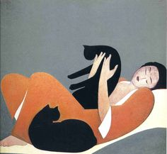 woman and cats 1969 by Will Barnet