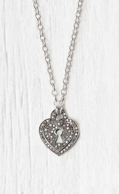 Diamond Heart Charm Necklace Sterling Silver