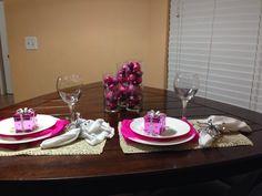 Pink christmas table setting