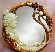Art Nouveau Lady Hanging Mirror