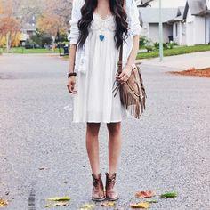 white dress + brown