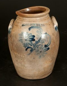 """Sold $325 Scarce One-Gallon Stoneware Jar with Cobalt Floral Decoration, Stamped """"HARRISBURG PA,"""" attributed to William Moyer, circa 1858, ovoid jar w..."""