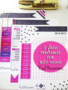 3 Free Printables fro Busy Moms {includes menu planner, chore chart and bills chart!} | Real Housemoms