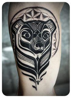 Gallery @ Love Hawk Tattoo Studio- David Hale (I love how he blends sacred geometry into native american style)