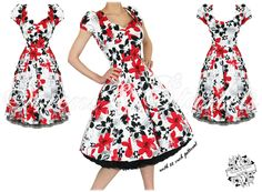 Red/Black Floral Swing Dress