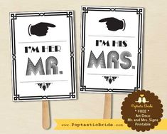 Art Deco Wedding Invitation Suite   Free Printable Mr. and Mrs. Signs!