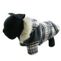 Happy Puppy Designer Dog Apparel - Plaid Pocket Hooded Coat - Color: Black, Size: M hood coat, dog coat, dog apparel, pocket hood, plaid pocket, happi puppi, design dog, puppi design