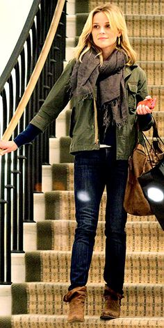 jacket, reese witherspoon, rees witherspoon, cozy outfits, movie stars, fall looks, comfy casual, brown boots, fall styles