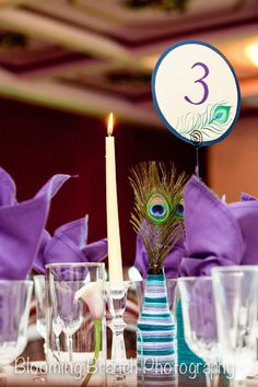 Custom Peacock Wedding Table Numbers  by Sweet Pea Print