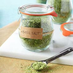 Herb Salt    If you have a bounty of herbs in your garden, harvest several cups to make simple herb salts that can be sprinkled on meat, fish, vegetables or eggs.