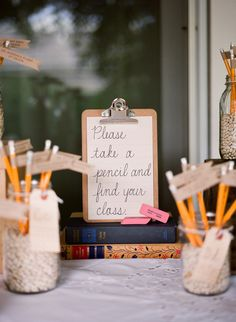 pencil escort cards, school-themed wedding, Meg Smith