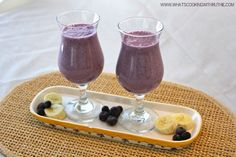 obsessionist:    Blueberry Banana Smoothie Recipe    Ingredients:  11 oz coconut water  1 ripe banana  3/4C frozen blueberries  1/4C whey protein  2 Tbsp ground flax seed  1 Tbls agave nectar or honey  1C crushed ice  Combine all ingredients in blender, blend until smooth. Serve.  (via whatscookingwithruthie.com)