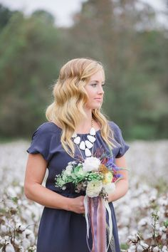 mermaid waves, photo by Julie Paisley http://ruffledblog.com/cotton-field-winter-wedding-ideas #bridalhair #hair #wavyhair