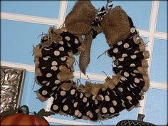 Super easy, DIY Burlap/fabric wreath... Perfect Fall decor!