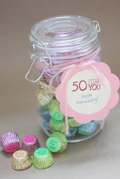 """50 Reasons I Love You: Get the 3/4"""" dot stickers from any office supply store and add handwritten messages to Reese's peanut butter cups or Hershey's kisses. Great for holidays, anniversaries, birthdays or thank you gifts...do number of how old they are"""