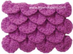 punto cocodrilo o escamas en crochet - crochet crocodile stitch
