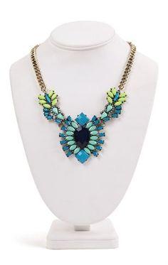 Deb Shops tri color statement necklace with unique stone design $11.17