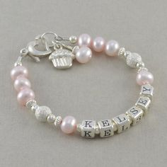Personalized Name Bracelet, pink pearls, little girls jewelry, 1st birthday bracelets, cupcake charm, smash pictures, toddler, baby, KELSEY on Etsy, $48.00