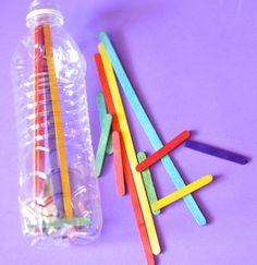 glow sticks, plastic bottles, bead, rock crafts, craft sticks, busi bag, bags, pipe cleaner, water bottles