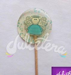 Paleta de caramelo con impresión comestible para bautizos o 1 comunión, medida 7cm diámetro. El diseño se puede personalizar