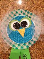 Cupcake liner owls made into award ribbons or name tags