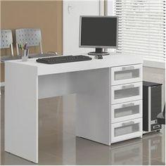 Mesa para Computador Politorno Malta com 4 Gavetas com Vidro 1180 - Branco - Mesas para Computador e Escrivaninhas no Pontofrio.com
