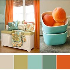 Invigorating color combination - orange, aqua, olive, teal & tan. CTMH: Bamboo, Garden Green, Juniper and Sunset. orange walls and the  aqua olive and teal for furniture and accents. I'm doing this in my sunroom!