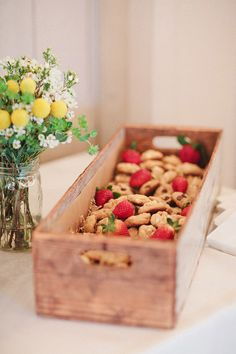 Homemade cookies + strawberries // wedding dessert ideas