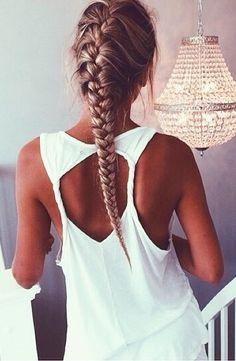 ☼ ☾ french braids, long hair, beauti, hairstyl, fishtail braids, braid hair, tan, hair tips, shirt