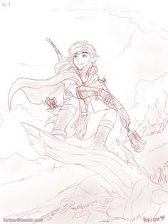 Ferisae: Quick sketch of WiiU Link cuz I love his stupid face and stupid ponytail and stupid everything. Might color it.