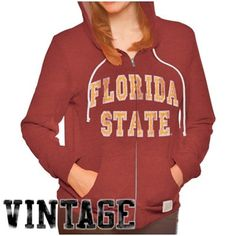 Original Retro Brand Florida State Seminoles (FSU) Ladies Full Zip Hoodie - Garnet