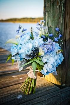 Blue wedding bouquet nautical wedding, blue flowers, flower bouquets, wedding bouquets, blue green, beach weddings, blue wedding flowers, blue weddings, blue bouquets