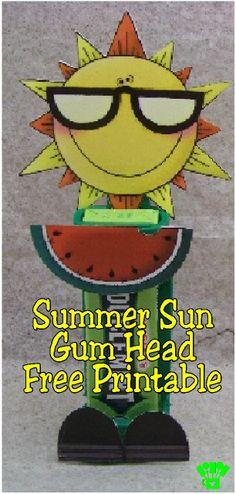 Summer Sun Gum Head Free Printable