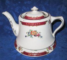 Royal Albert Crown China Tea Pot Stand Pink Floral Burgundy Border Gold Rim   eBay