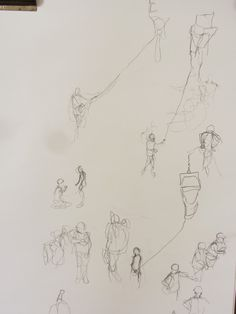 """Exhibition Road Drawing Resident: Liam O'Connor, April 2014 – April 2015, """"When heavy objects are moved by the cranes a guide rope hangs from them for someone on the ground to hold in order to guide them to their destination, but they always look like they are walking along with huge helium balloons or flying kites."""" © Liam O'Connor."""